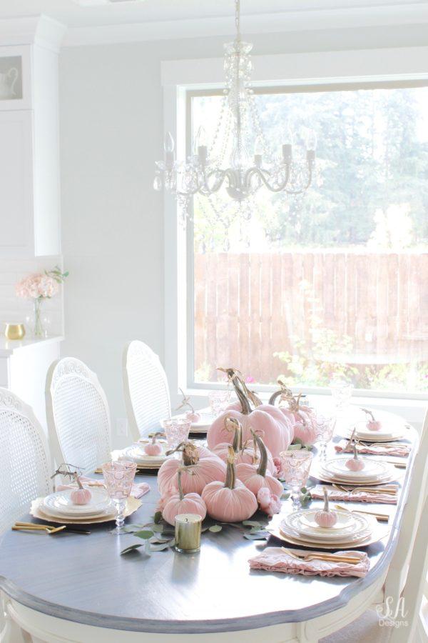 Blush Velvet Pumpkins Tablescape For Fall 38